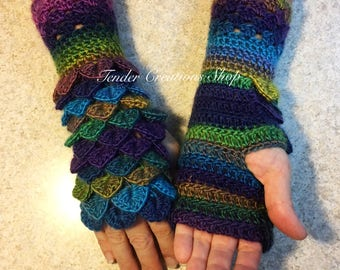 Dragon Scale Gloves/Fingerless Gloves/Dragon Gloves/Crocodile Gloves/Crochet Gloves/