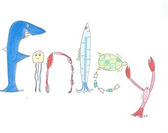 Original Name Art, Personalized Nursery Art, Sea Life, Shark, Crab, Surfing, Finley, Jake, Jack, Josh, Illustration and Watercolor Painting