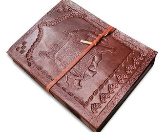 """The Royal Elephant handmade leather bound journal diary/notebook/sketchbook with embossed design and handmade paper , 7""""x 5"""""""