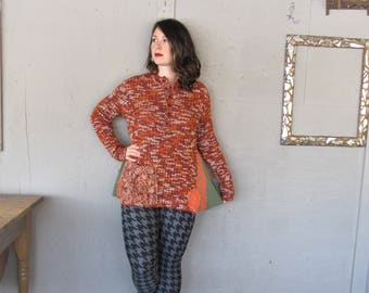 upcycled clothing winter tunic reclaimed wearable art sweater X Large pumpkin orange Lagenlook recycled fun clothes tunic LillieNoraDryGoods