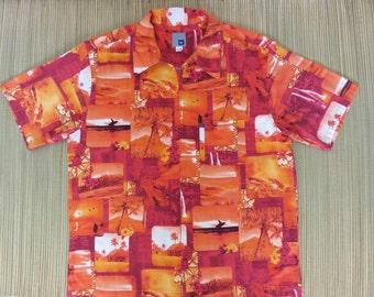 Mens Hawaiian Shirt QUIKSILVER 70s Orange Vintage Surf Photos Endless Summer Sunset Beach California Surfboard - L - Oahu Lew's Shirt Shack