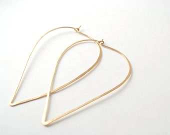 drop hoops rose yellow gold or sterling