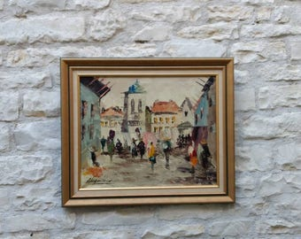 Abstract market scene, oil on canvas painting, framed and signed.