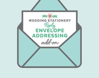 Reply envelope return address printing, wedding invitation add-on