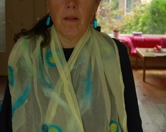 nuno felted Yellow/lime scarf