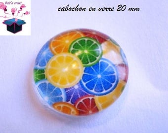 1 cabochon clear domed 20mm fruit theme