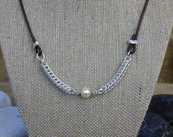 Pearl Necklace Accented by Sterling Silver Queens Chain Chainmail - Single Pearl - White Pearl Necklace - Sterling Silver and Pearl Necklace