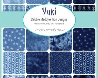 """Yuki Charm Pack - 5"""" Inch Precut Fabric Squares - Indigo Blue Dyed Charm Squares - Debbie Maddy - Moda 48020PP"""