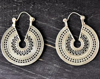 Tribal Silver Earrings, Ethnic Earrings, Tribal Hoop Earrings, Mandala Earrings, Indian Earrings, Filigree Earrings, Indian Jewelry
