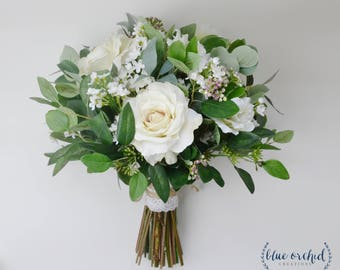 wedding flowers, wedding bouquet, eucalyptus bouquet, silk bouquet, bridal bouquet, rustic bouquet, boho bouquet, ivory, white, green