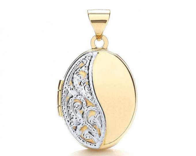 9ct Gold Lace Engraved Small Oval Shaped 2 Photo Locket 15x12mm
