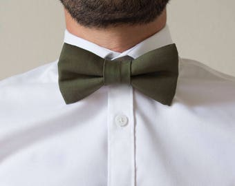Adjustable khaki green cotton adult bowtie / bow tie