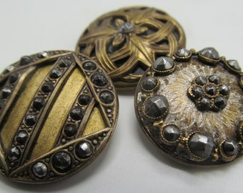 3 Medium Sized Victorian/Antique Steel Cut Buttons
