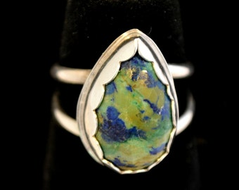 Azurite malachite sterling silver ring.  blue green stone ring.  size 8.25 US