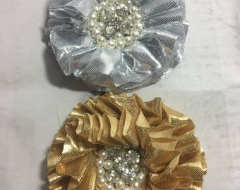 Gold or silver large Dog collar flower with rhinestones and pearls