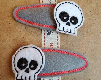 Grey Clips with Skull Topper