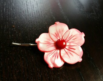 CLEARANCE !!! Red Coral Honeysuckle Hibiscus Bobby Pin