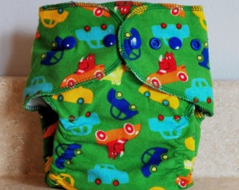 Fitted Small Cloth Diaper- 6 to 12 pounds- Cars on Green- 17016