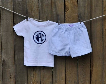 Boys Monogrammed clothing, shirt with blue seersucker shorts, brother matching, many colors...3m,6m,9m,12m,18m,2t,3t,4t, 5/6,7
