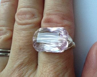 Swarovski Rosaline Emerald Cut Ring, Wire Wrapped Pink Crystal Ring, Pink Crystal Ring