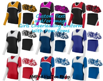 Custom Girls/Youth Cheerleader Uniform with Pom Pom, Cheerleader Outfit, Cheerleading Uniform, Cheerleading Outfit, Cheerleading Shirt