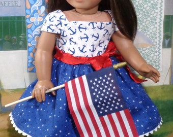 Fourth of July Red White and Blue Dress for 18 inch Girls