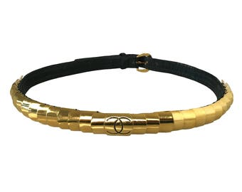 CHANEL Vintage 1987 Gold CC Logo Belt RARE! Monogram Waist Black Leather