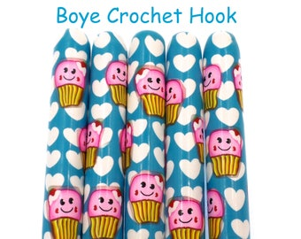 Crochet Hook, Boye Polymer Clay Covered Crochet hook, Cupcake, Kawaii, Hearts