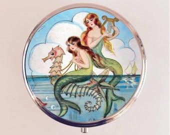 Mermaid Pill Box Case Pillbox Holder Trinket Stash Box Harp Seahorse Nautical Sirens