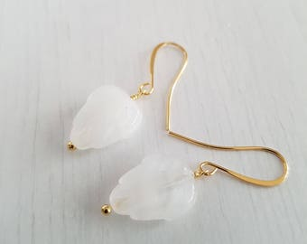 Vintage glass leaves, wire wrapped, gold plated earrings.