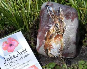 Hare painting, painted stone, wildlife art,hare art, gift idea, animal lover gift, gift for him, painted rock, British wildlife, animal art