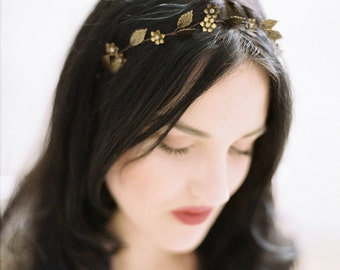"Antique brass bridal headband-Antique brass leaf headpiece-Bridal-Antique brass leaf headband-Swarovski headpiece- TWR ""ANEMONE"" Headband"