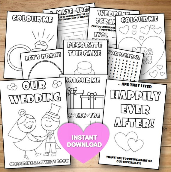Kids Wedding Colouring Activity Book INSTANT DOWNLOAD
