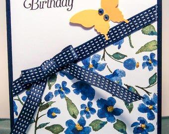 Birthday Card, Butterfly Card, Cheerful Birthday Card, Feminine Birthday, Handmade Card, Greeting Card, Happy Birthday Card,Blue Flower Card