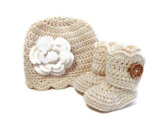 Crochet Baby Hat/Crochet Baby Booties/3 PC Baby Gift Set/READY to SHIP/Handmade Baby Shower Gift