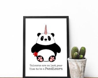 Panda Print, Pun Panda print, Cute Panda print, Panda home decor, Panda wall art, Funny Panda print, Panda Birthday gift, Panda Easter gift
