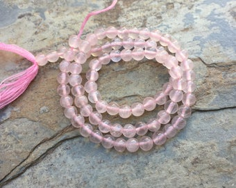 Rose Quartz Beads, round beads, 13 inch strand, 4mm
