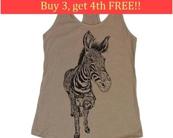 Graphic Tank Tops Women - Zebra Tank - Tanks Tops Women - Beach Tank Tops - Summer Tank Top -  Funny Tank Top - Printed Tank Top - Warm Grey