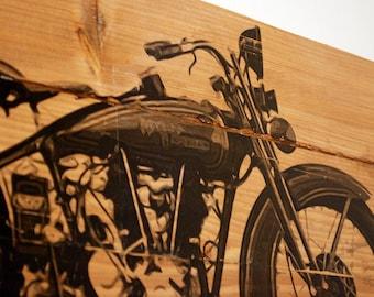 "Large Vintage 1928 Harley Davidson Motorcycle Wall Art on Solid Wood Boards - 32"" x 11"" Biker Decor"
