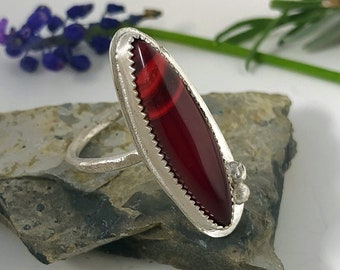 Rosarita Sterling Silver Ring, Southwestern Jewelry, Boho, Metalsmith, Unique Ring, Ring Size 9, Red Stone, Talon Ring