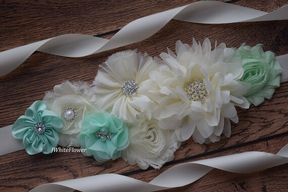Flower Sash, mint  ivory Sash , flower Belt, maternity sash, flower girl sash belt, flower sash