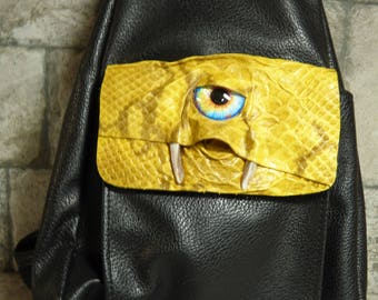 Leather Backpack Purse With Face Monster  Goth Black 381