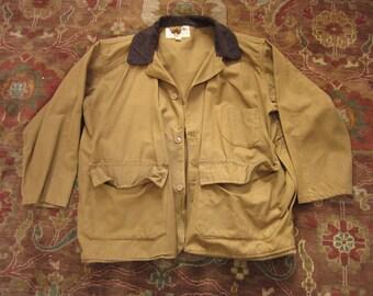 Large Size 44 Cotton Brown Duck Canvas Hunting Jacket / Bullseye Bill, Corduroy Collar, Duckhunter, Lightweight