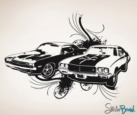 High Quality Vinyl Wall Decal Sticker 70s American Muscle Cars OSAA124B
