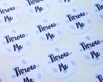 Confetti stickers, personalised confetti labels, throw me stickers, wedding confetti, personalised wedding stickers, heart shaped label..