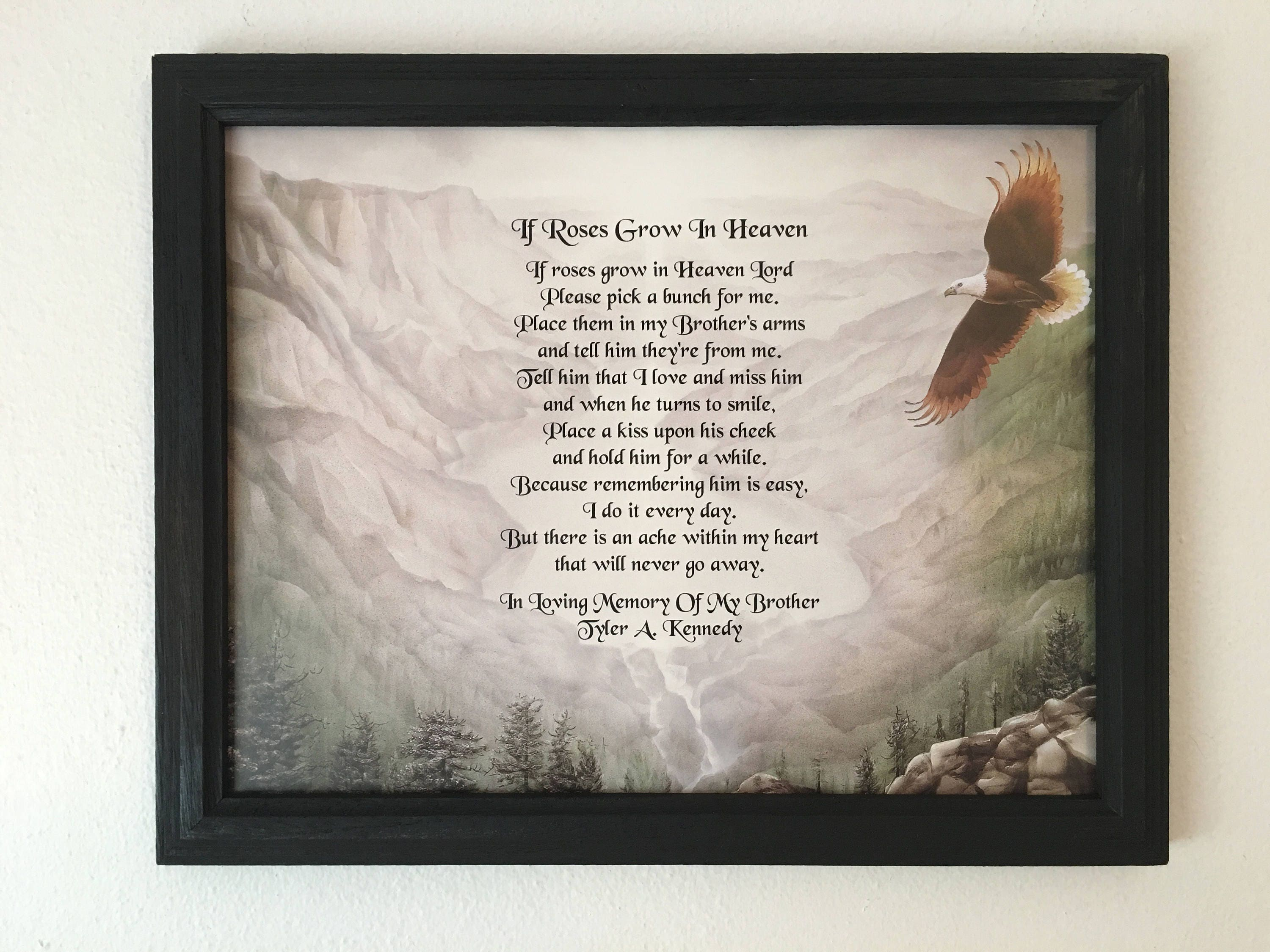 Memory of Brother Sympathy Gifts Mountains Eagle Roses