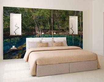 Peel And Stick Wallpaper Blue, Wall Decal Lake, Custom Blue Wall Mural, Wall Decor Peel And Stick