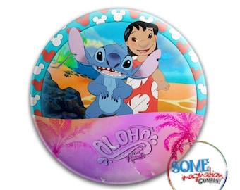 Aloha from Hawaii Lilo & Stitch Button
