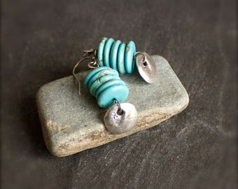 Turquoise Sterling Silver Earrings - Stone Earrings, Silver Ceramic Coin Charm, December Birthstone, Boho Jewelry