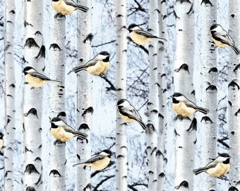 Snowscapes Snow Birds On Birch C6128 from Timeless Treasures by the yard